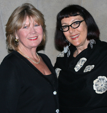 Emcee Patty DeDominic and keynote speaker Lynda Weinman. (Melissa Walker / Noozhawk photo)