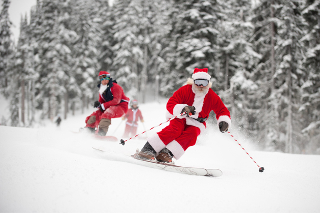 <p>Santa Claus skis the slopes in Whistler, British Columbia, a popular resort town nestled at the base of Blackcomb and Whistler mountain ranges.</p>