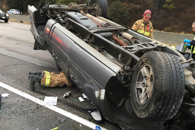 A driver was transported to the hospital with moderate injuries after a rollover accident near the Nojoqui Summit Monday afternoon.