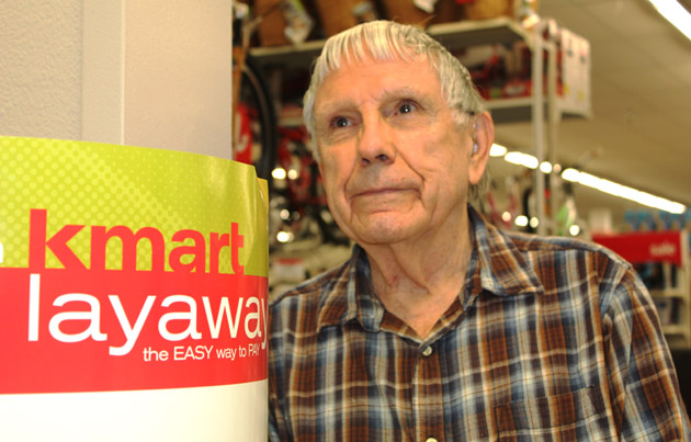 Layaway angel Dennis Hand of Goleta contributed $150 on Friday toward overdue layaway accounts at the Kmart on Hollister Avenue.