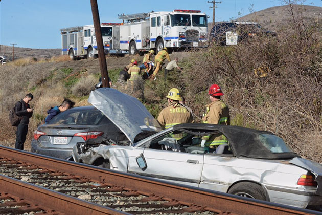 A woman was seriously injured Wednesday in a two-vehicle crash on southbound Highway 101 near El Capitan State Beach.