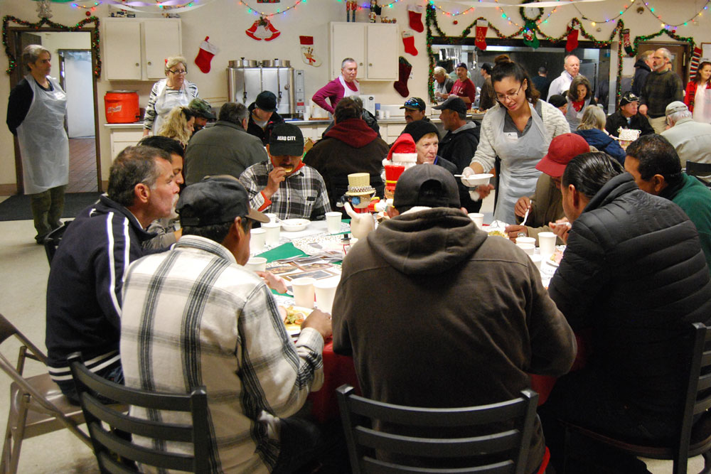 Festive cheer was spread Friday afternoon when the Santa Barbara Rescue Mission held its annual Christmas lunch.