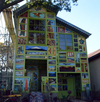 This painting-covered house on Santa Barbara Street was designed by