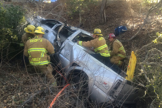 One person was injured Saturday afternoon in a crash on Highway 246 near Hill Haven Road in the Santa Ynez Valley.