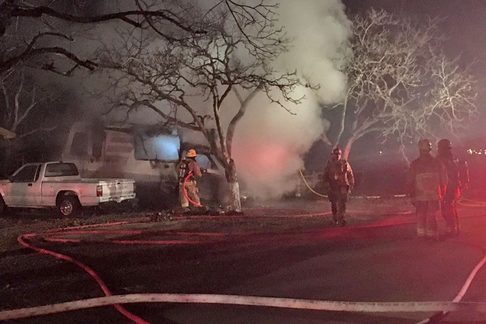 Fire destroyed an RV in Los Olivos early Monday, but firefighters were able to prevent the flames from spreading to the adjacent home. No injuries were reported in the blaze.