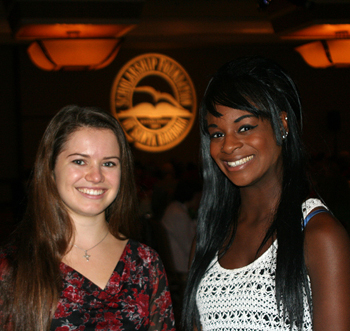 Scholarship recipients Rebecca Shasberger and Janina Mason. (Melissa Walker / Noozhawk photo)
