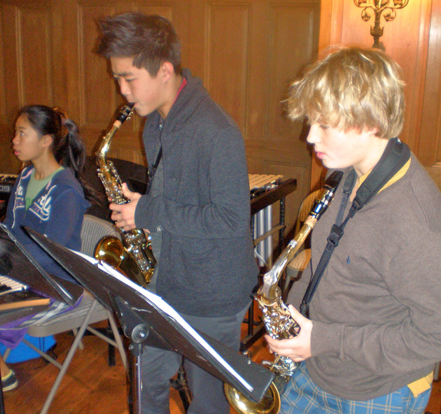 Members of the Cate School Jazz Ensemble rehearse for the annual Carpinteria Community Awards Banquet. (Cate School photo)