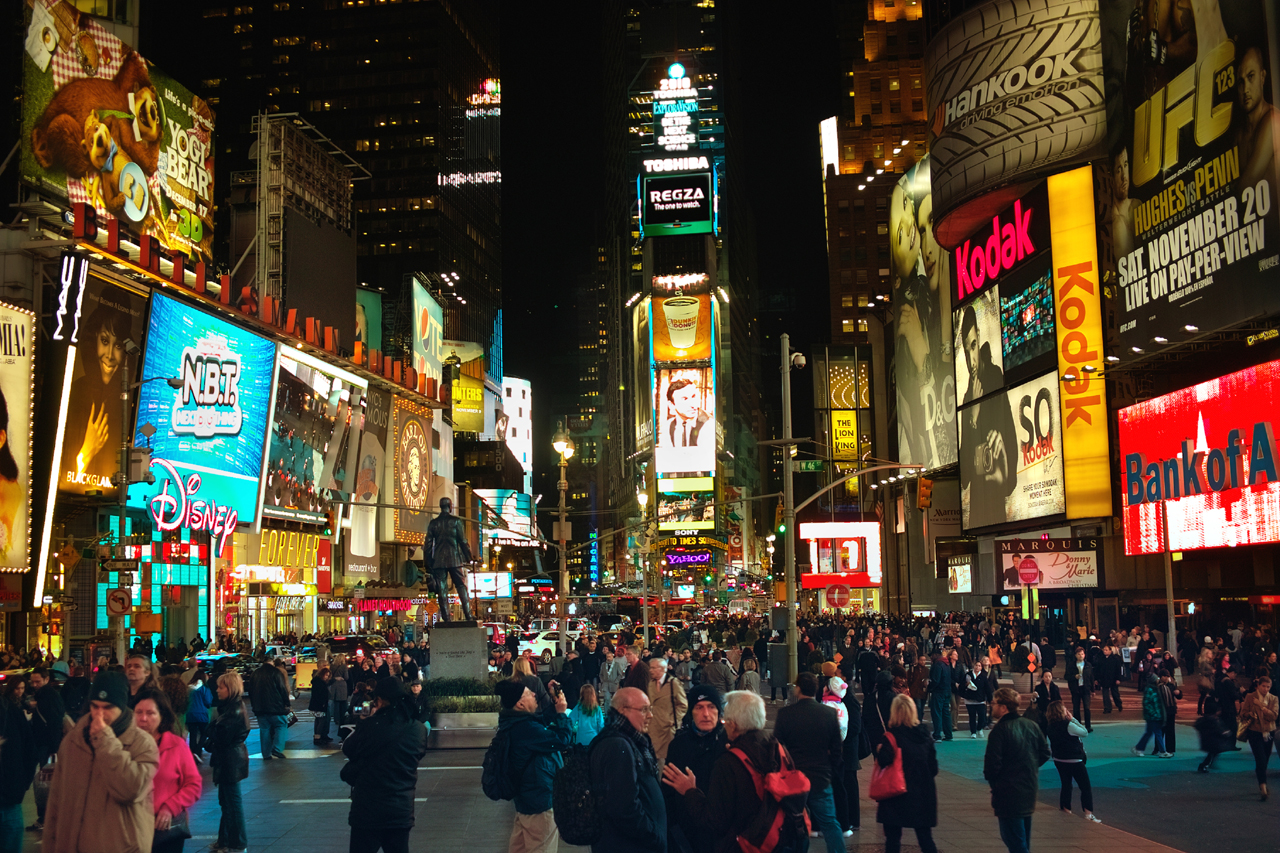 Times Square in New York City attracts more than 330,000 pedestrian visitors every day.