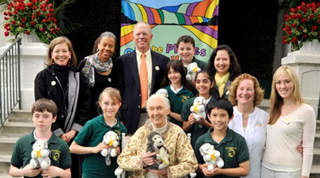 Jane Goodall, center, will be the grand marshal for Tuesday's Rose Parade. (Jane Goodall's Roots & Shoots photo)
