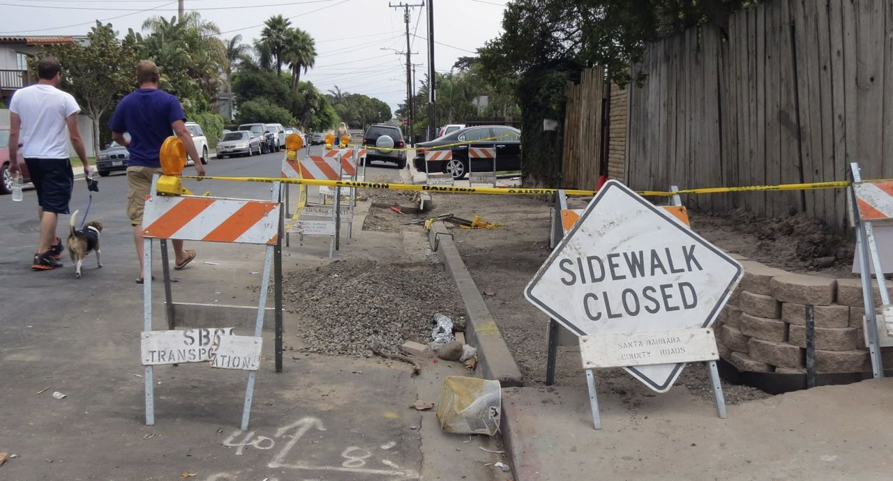Sidewalk improvements have begun in the 6600 block of Del Playa Drive in Isla Vista as part of a four-phase safety project.