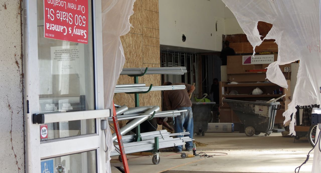 Crews are still working to renovate the new headquarters for Sonos at 614 Chapala St., the former home of Samy's Camera.