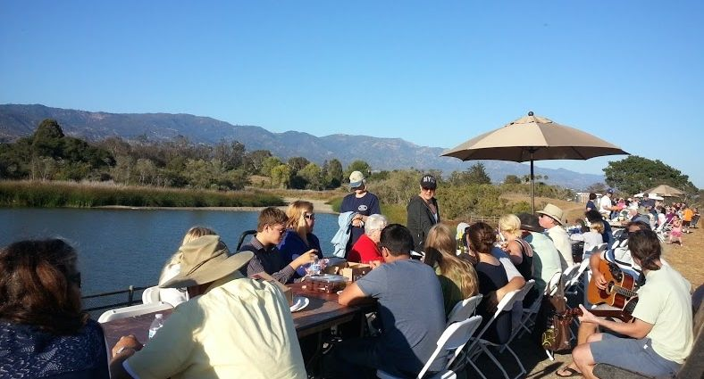 Goleta residents gather for barbecue chicken and sandwiches Saturday at the city's second annual Goleta Dam Dinner overlooking Lake Los Carneros.