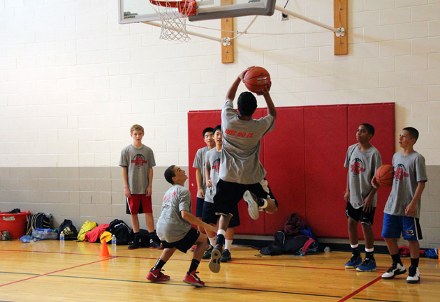 Youths participate in drills at the Shooting Star Camp.