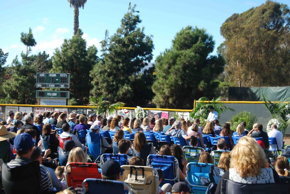 Friends shared stories and rememberances of Andrew Darke, who coached his sons at the Goleta Valley South Little League.