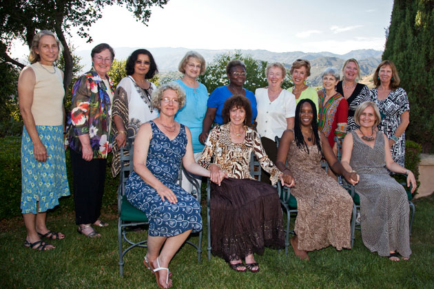 Women to Women International board and sounding board members at the 2012 fundraiser were, from left, Samantha Howland, Claire Van Blaricum, Sunanda Bhargava, Jane De Selm, Gloria Decker, Michel Nellis, Lynda Fairly, Jane Honikman, Janet Shaw, Judy Allen, Sara Weber, Fritz Pinney, Melissa Walker and Silvia Morgan. (Noozhawk photo)