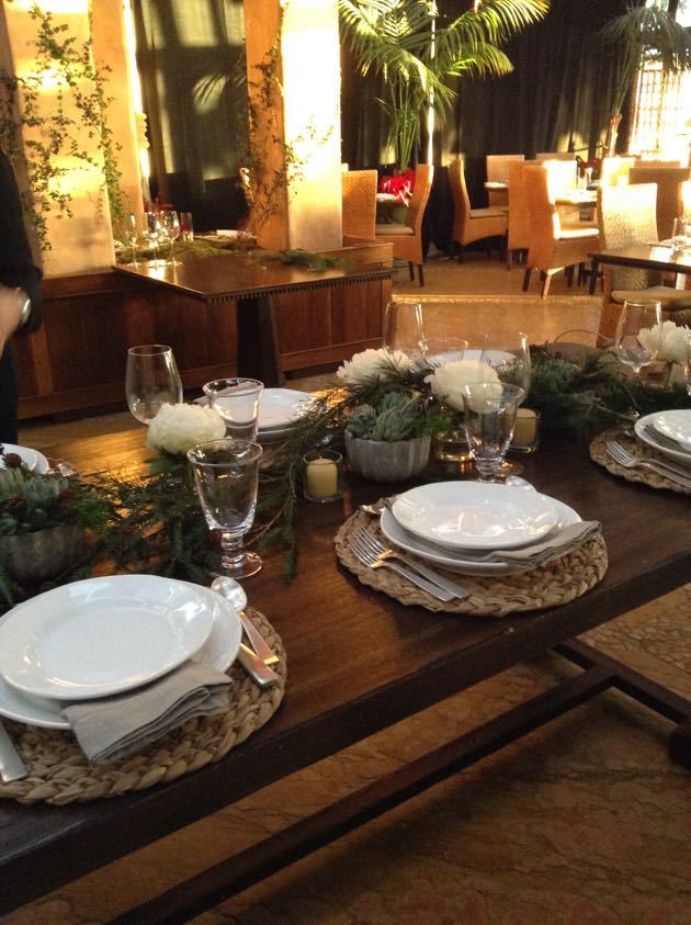 Holiday table design inspired by Hudson | Grace in the Montecito Country Mart. (Judy Foreman / Noozhawk photo via iPhone)