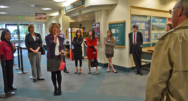 Santa Barbara City College President Lori Gaskin explains some of the college's many facilities needs during a tour of the campus with members of the Board of Trustees. (Giana Magnoli / Noozhawk photo)