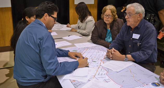 Residents of Santa Barbara's Eastside met in small groups Saturday during a municipal workshop to discuss concerns about traffic and pedestrian safety in their neighborhoods. (Giana Magnoli / Noozhawk photo)