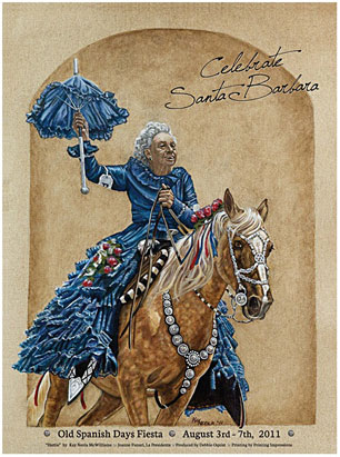 100-year-old Hattie Feazelle, who has ridden in all 87 Old Spanish Days-Fiesta parades, is the subject of a limited-edition poster by Kay Neola McWilliams.