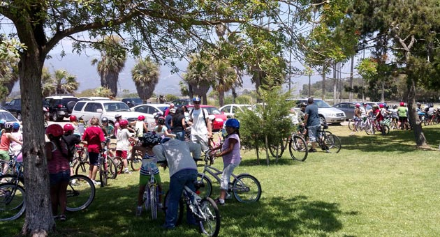 <p>Students from El Rancho School in Goleta recently rode their bikes to popular Goleta Beach Park from campus.</p>