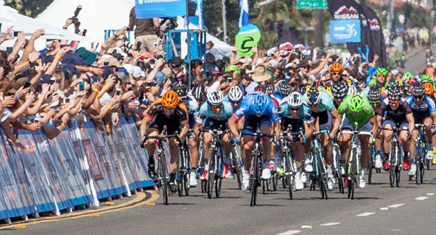 <p>Riders sprint for the finish line during a stage of last year&#8217;s Amgen Tour of California bike race. This year&#8217;s Stage 5 will again end on Cabrillo Boulevard in Santa Barbara, but coming from the north rather than the south.</p>