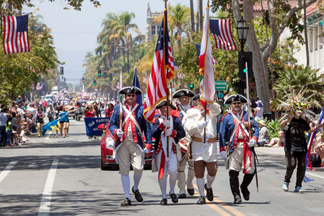 A color guard makes its way down State Street in Santa Barbara during last year's Fouth of July parade. Events are planned throughout Santa Barbara County this year in honor of Independence Day.