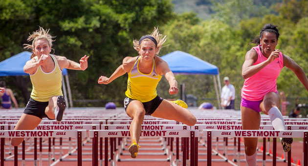<p>Hurdlers race to the finish at the Sam Adams Combined Events Invitational meet this past weekend at Westmont College.</p>