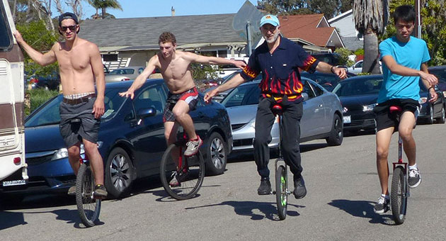 Members of the UCSB Unicycle Tribe take a hands-free ride through Isla Vista early Saturday afternoon. Even then, trouble was brewing, one of the team members said. Click here for more photos of the ride. (Robert Bernstein photo)