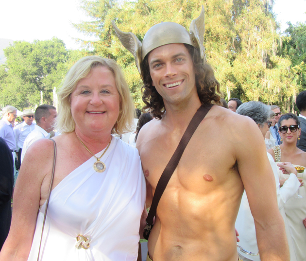 Lotusland board president Connie Pearcy with Jarratt Rouse, dressed as Greek messenger god Hermes, at the July 31 'Gods & Goddesses' fundraiser for the botanical garden.