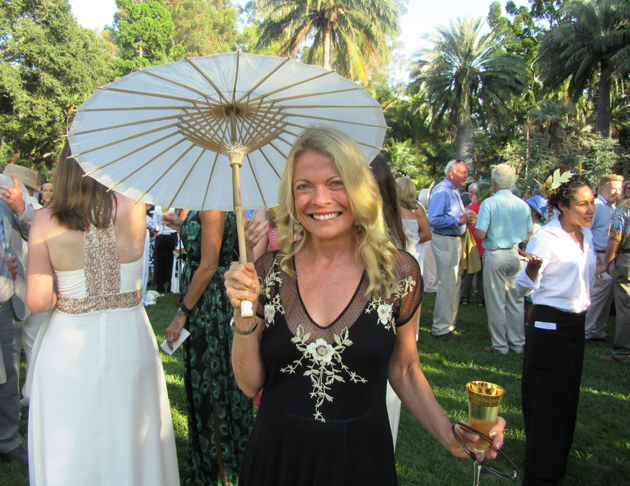 Longtime Santa Barbara resident Julia Carr with her pretty parasol.
