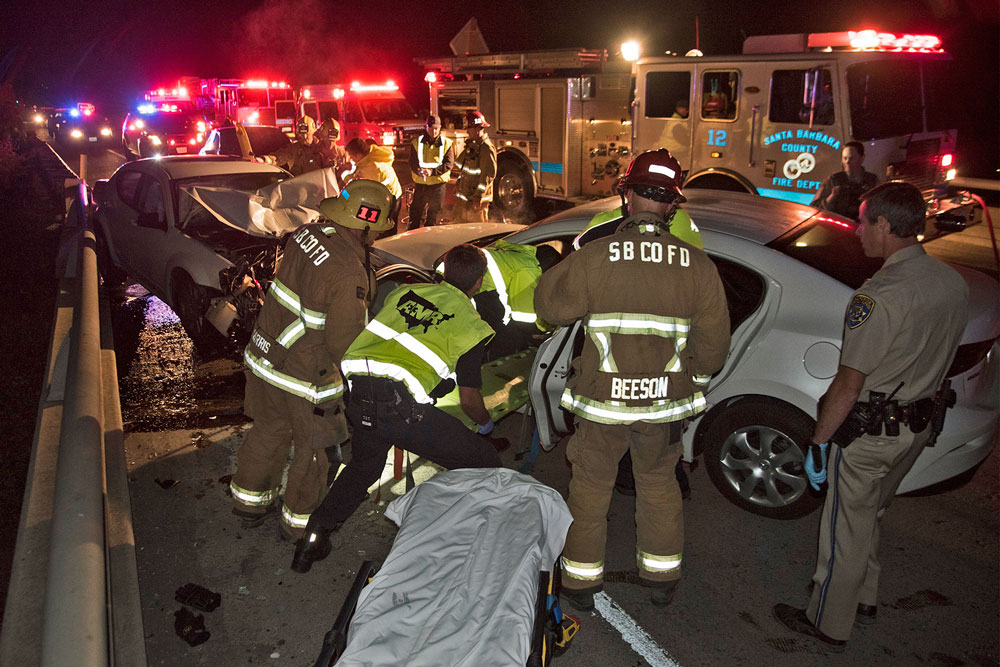 Firefighters rescue injured driver