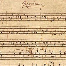 A page of the Requiem score in Mozart's hand.