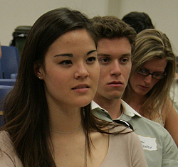 Students listened attentively for job and career tips.