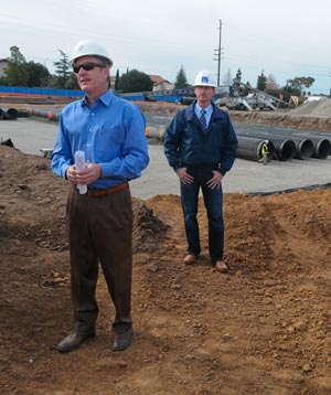 Jim Youngson of Terrain Consulting, left, and Penfield & Smith engineer Don Donaldson describe how the drainage system will control the flow of water at the 23½-acre site. (Lara Cooper / Noozhawk photo)