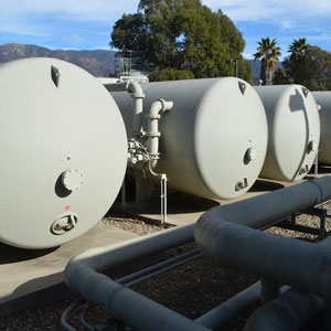 Santa Barbara's desalination plant near the Funk Zone utilizes a reverse-osmosis design, with seawater pumped through a series of filters and semi-permeable membranes. (Giana Magnoli / Noozhawk photo)