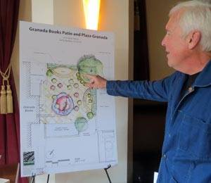 Granada Books co-owner Emmett McDonough describes a proposed patio and plaza area planned for the parking lot behind the community bookstore. (Gina Potthoff / Noozhawk photo)