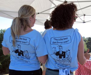 Dam Dinner T-shirts were so popular that organizers ran out. (Gina Potthoff / Noozhawk photo)