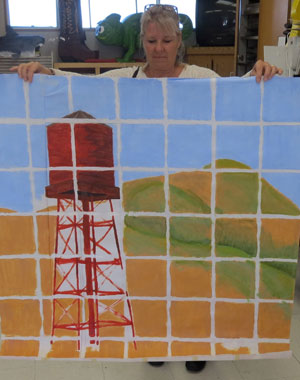 A water tower is among the prototypes under consideration for a collaborative arts project by Orcutt high school students. The art work will be transferred to tiles that will adorn the underside of the new Union Valley Parkway overpass on Highway 101. (Gina Potthoff / Noozhawk photo)