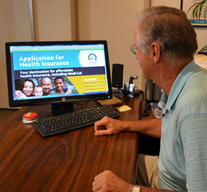 Bob Hopper, of Bob Hopper Insurance Services of Santa Barbara, says the inefficiency of Covered California's online application process has forced his staff to work exclusively with paper applications. (Giana Magnoli / Noozhawk photo)