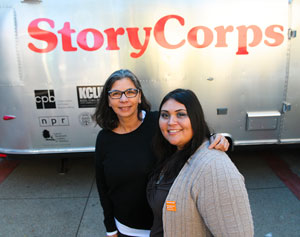 An Airstream trailer is the traveling recording studio where Melinda Gandara, left, and Jazmin Gomez had a wide-ranging conversation about their shared experience as first-generation college students. (Lara Cooper / Noozhawk photo)