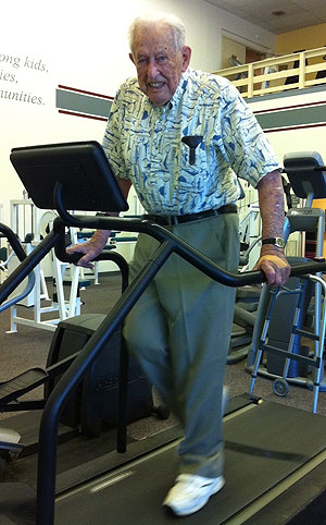 When he's not golfing, Alfred Hunt, 97, can be found three times a week exercising at the Lompoc Family YMCA.