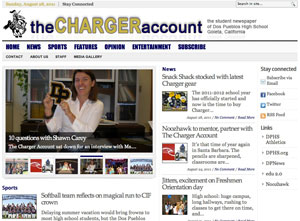 Among the early articles posted on The Charger Account's Web site is a back-to-school interview with Principal Shawn Carey.