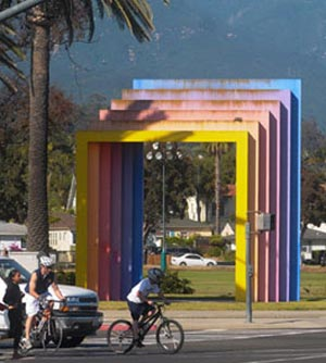Showing the wear of exposure to corrosive marine elements along the Santa Barbara waterfront, the Chromatic Gate has seen better days. (Lara Cooper / Noozhawk file photo)