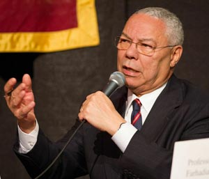 In talking about the federal sequester that went into effect Friday, Colin Powell said the lack of political leadership is 'unthinkable. You couldn't run a 7-Eleven the way we're running this country.' (Brad Elliott photo / Westmont College)