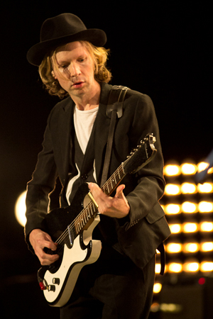 Customizing his show to the Santa Barbara Bowl, Beck dedicated one song to 'every guitar solo ever played in this very venue in the 1980s.' (Garrett Geyer / Noozhawk photo)