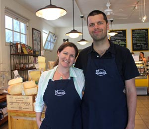 C'est Cheese owners Katherine and Michael Graham are excited about the upcoming expansion of their specialty cheese shop at 825 State St. The additional space will provide customers with breakfast, lunch and retail options that are unavailable now. (Alex Kacik / Noozhawk photo)