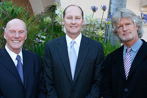 Among those honored Thursday night with South Coast Business & Technology Awards were, from left, Fred Kavli, founder of former CEO of Kavlico; Mike Mayfield, CEO of Santa Barbara Asset Management; and Bruce Willard, founder and chairman of Blue Highways.