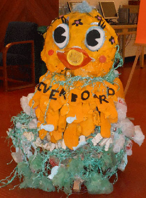 'Beach Plastic Duck,' created by local artist Holly Mackay and on display in the UCSB Library, is made from found beach plastic. The sculpture was commissioned by the UCSB Associated Students Coastal Fund to coincide with the UCSB Reads Program.