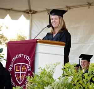 Megan Mooty, a Westmont College communication studies major, presented a Student Reflection at Baccalaureate on May 4 on Russ Carr Field. (Brad Elliott photo / Westmont College)