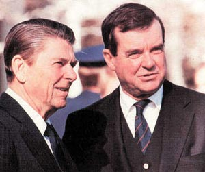 National security adviser William P. Clark confers with President Ronald Reagan in an undated file photo. (The Tribune photo)